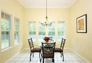 So much sunlight comes in to this breakfast nook from the many windows
