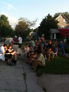 Eating and jammin' to the music at the Crosbie Heights Block Party