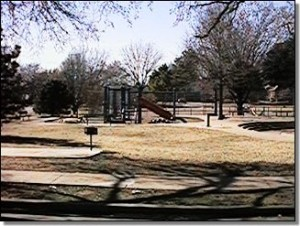 Florence Park Tulsa Oklahoma with tennis courts, water feature, picnic tables