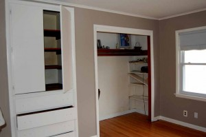 Drawers and shelving built-ins are a nice extra in the master bedroom