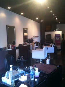 Centric Salon styling chairs and nail station