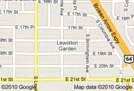 Map Lewiston Gardens, midtown Tulsa real estate