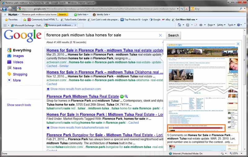 screen shot google search Florence Park midtown Tulsa homes for sale