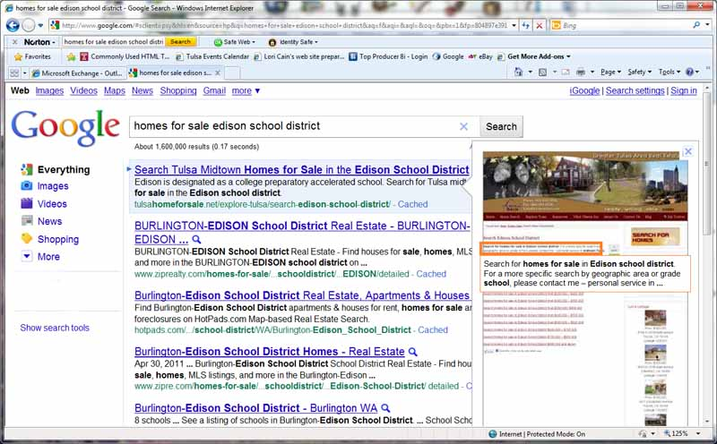 Screen shot of google search for homes for sale in Edison school district