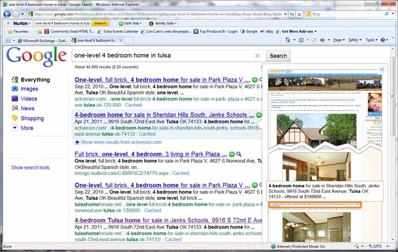 screen shot google search one level 4 bedroom home in tulsa ok