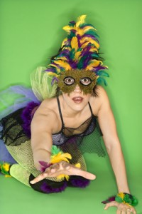 Woman in Mardi Gras costume