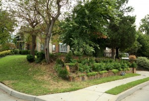 Tiered garden facing Houston Avenue - historic midtown Tulsa home for sale