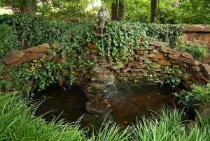 Tranquil water feature and fish pond between home and McBirney Mansion
