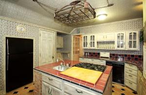 Kitchen showing built-in refrigerator, door to basement and door towards formal dining