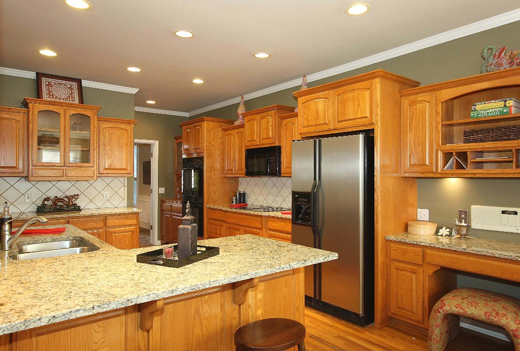 granite countertops, new appliances in gourmet kitchen