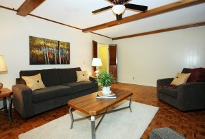 Den with beamed ceiling, new ceiling fan