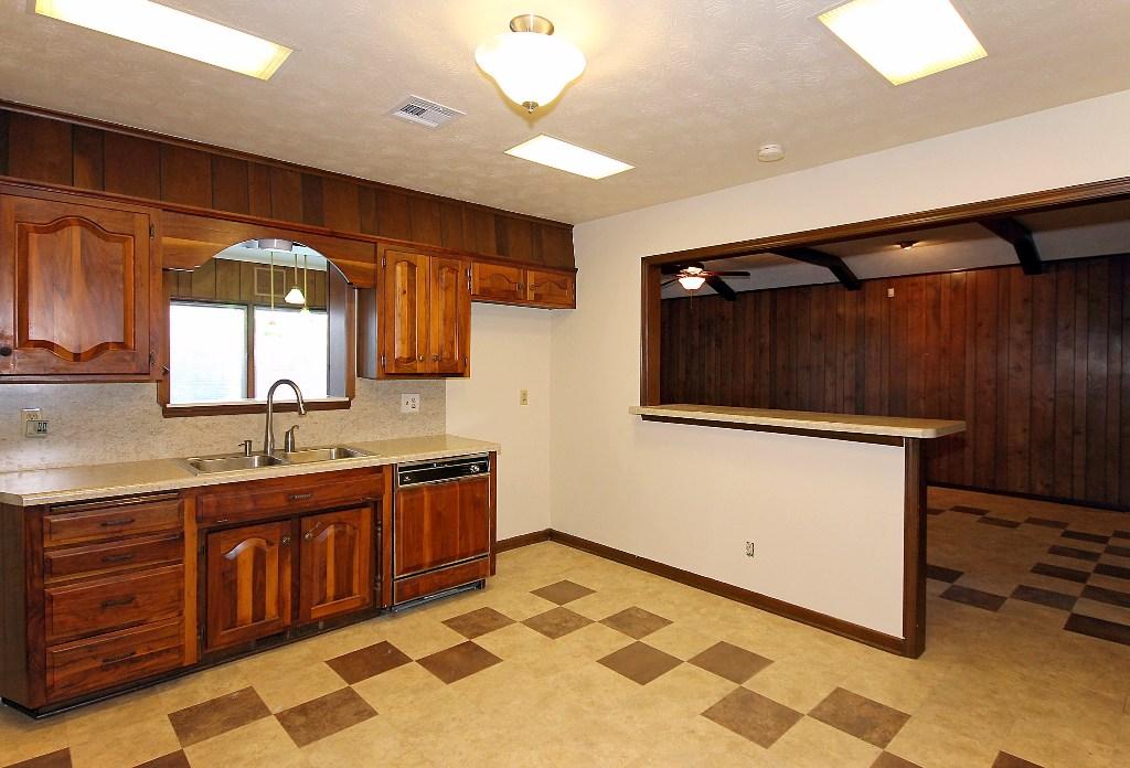 kitchen open to den
