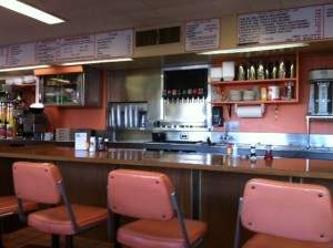 counter seating at Brownies Hamburgers