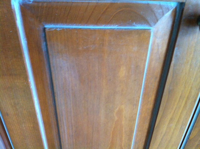 cabinet after refinishing with coconut oil