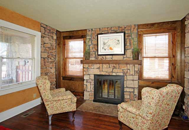 stone fireplace in midtown tulsa home for sale