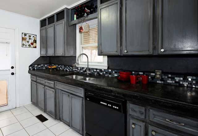 kitchen towards sink backsplash