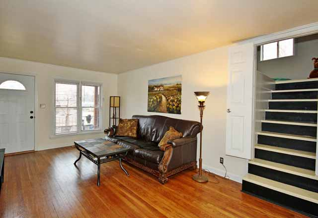 living from dining showing stairs