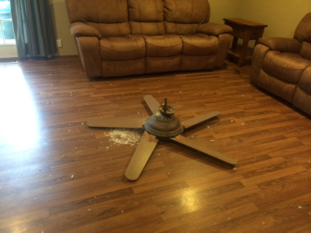 ceiling fan crashed on floor
