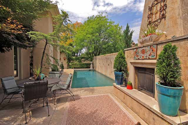 4 courtyard pool and fireplace