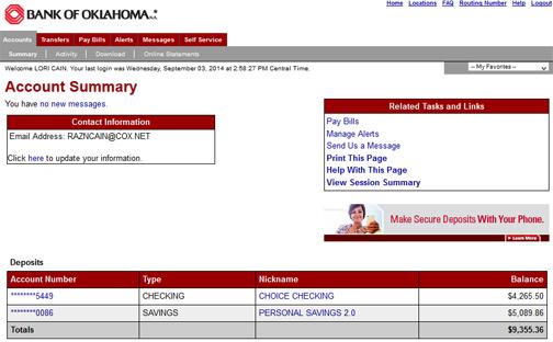 screen shot of bank account