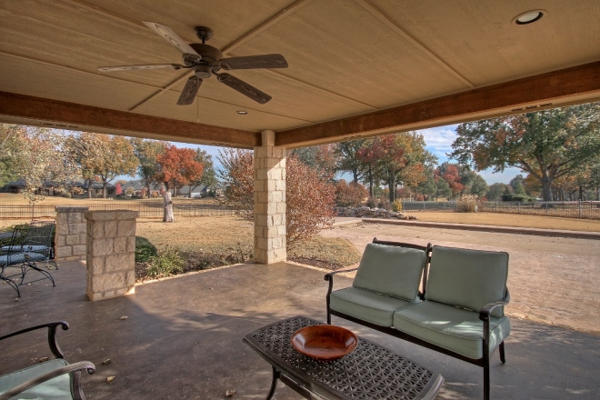 view of Cedar Ridge golf course from covered patio