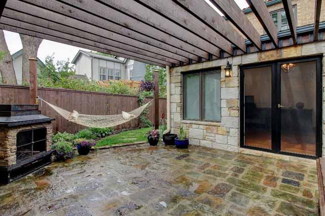 patio firreplace - doors to office