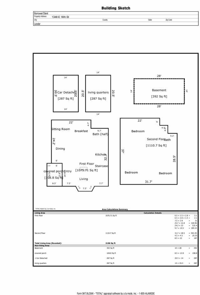 floor plan 1348 E 18th St